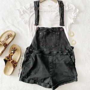Brandy Melville Black Overall Shorts